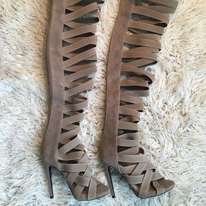 Thigh high tan heel Boot size 6
